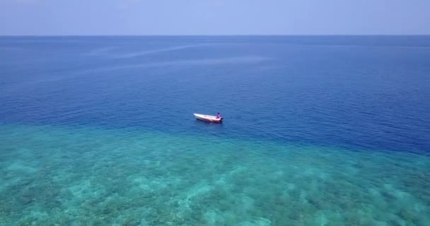 Boat moving in blue sea. Nature of Dominican Republic, Caribbean.