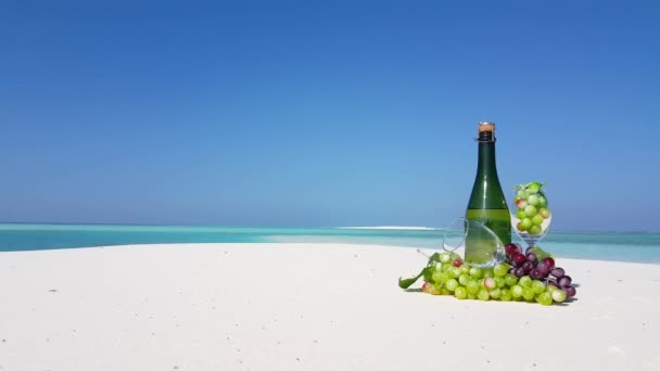 Champagne with grapes on the beach. Summer trip to Koh Samui, Thailand, Asia.