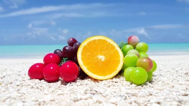 Tasty fruits on the beach. Idyllic nature of Bali.