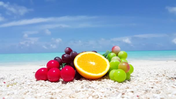 Sweet fruits on the beach. Vacation scene in Thailand, Asia.