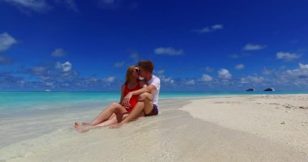 Dominican republic beach with blue water and sand beach. Honeymoon couple on summer exotic vacation in Punta Cana, Caribbean.