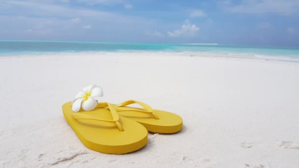 Žluté žabky s frangipani květinou na pláži. Příroda scenérie Antigua.