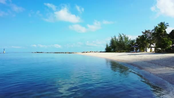 Shoreline with green palms. Summer scene at Gili Trawangan, Indonesia.