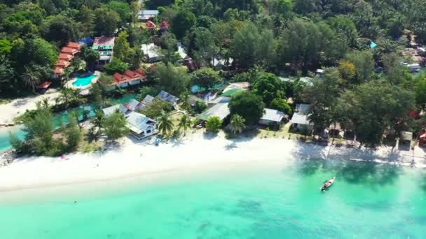 Aerial island view in midday. Tropical nature of Bahamas, Caribbean.