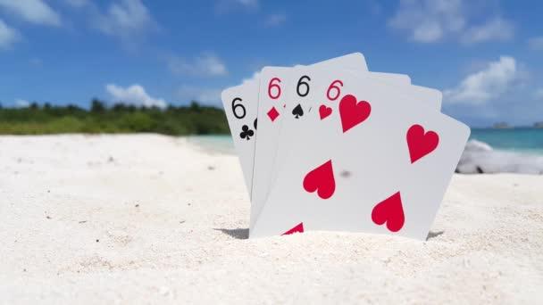 Video Kartu Poker Empat Enam Dan Pantai Laut Latar Belakang Stok Video C Motionworksfilmstudio 377397746