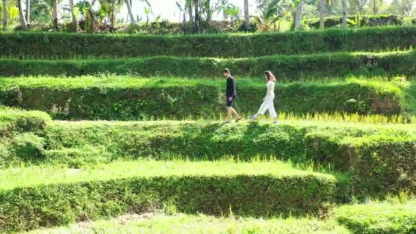 Footage of lovely young woman with her boyfriend enjoying nature on tropical island during daytime, travel concept