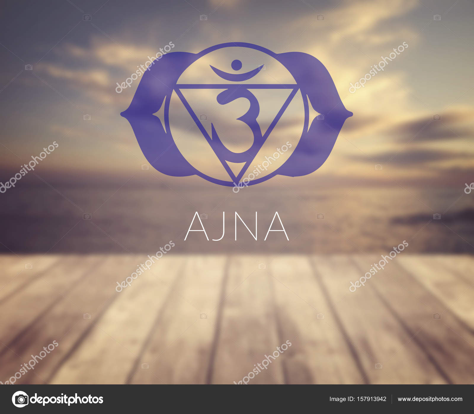 Ajna Chakra Symbol Poster For Yoga Class With A Sea View Stock