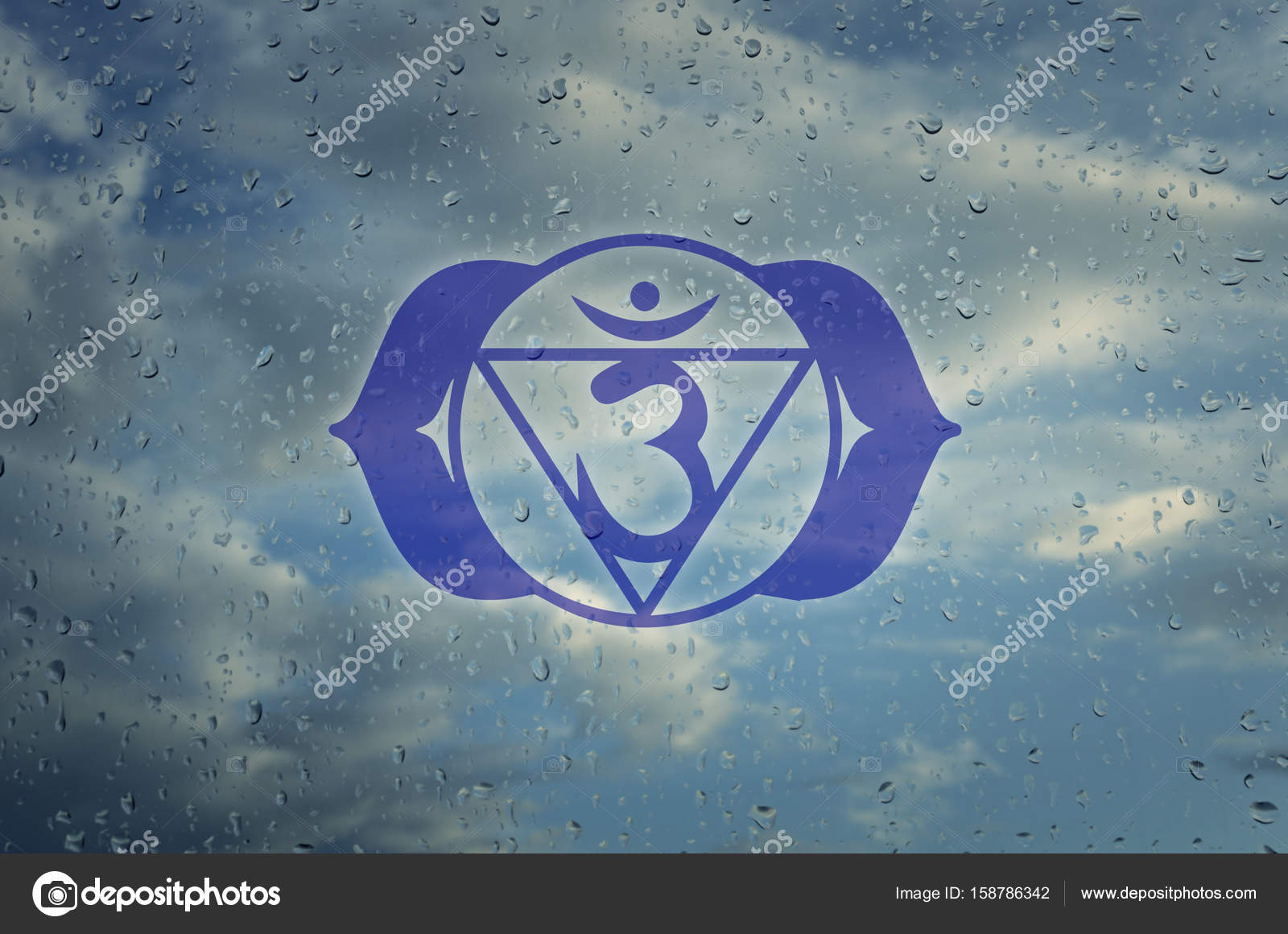 Ajna Chakra Symbol Poster For Yoga Class With A Clouds View