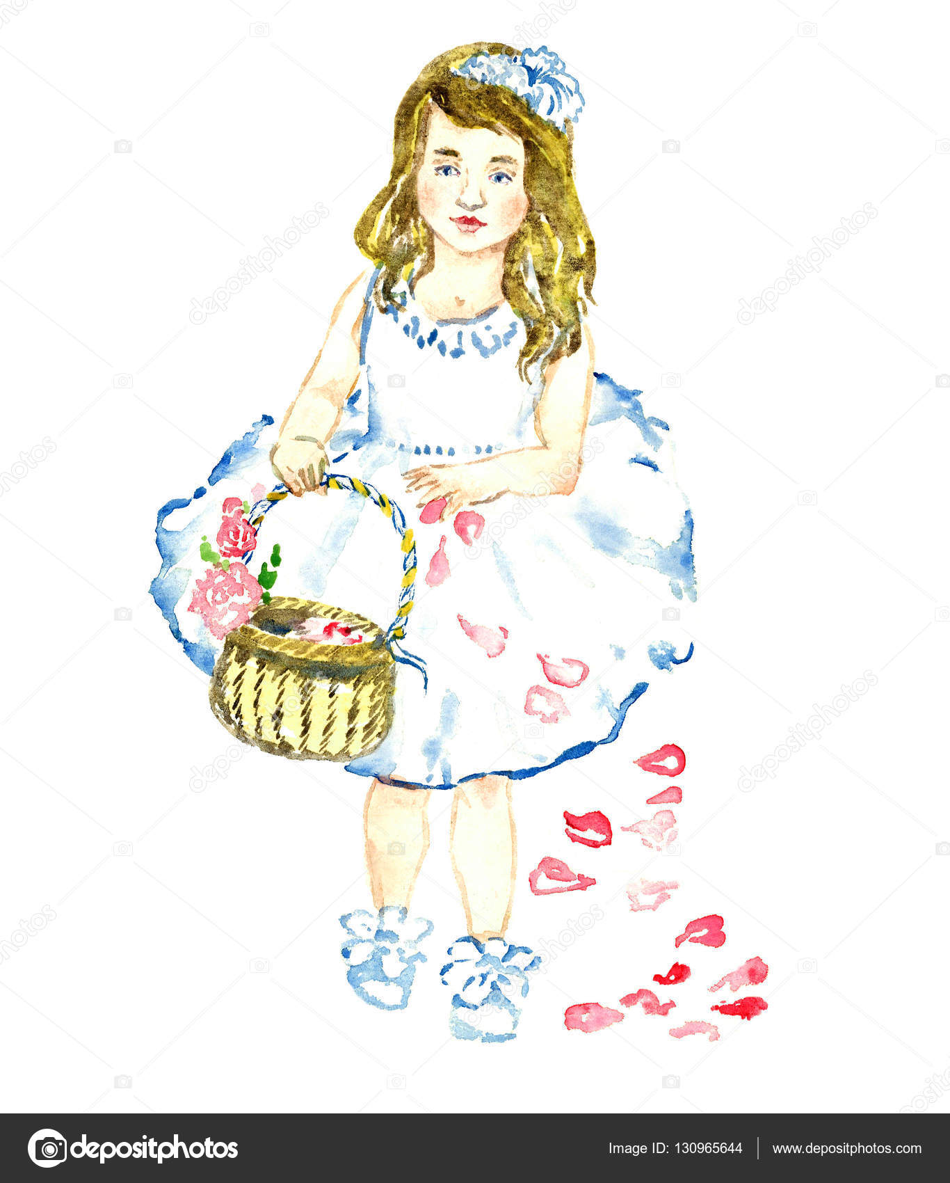 Portrait Of Little Girl In White Dress With Flowers In Blonde Hair