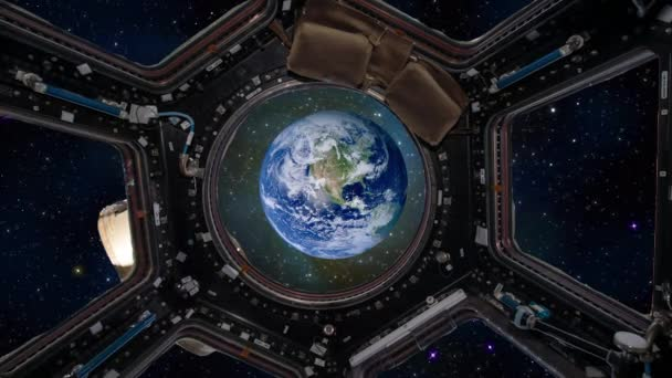 Earth Through Window Of International Space Station