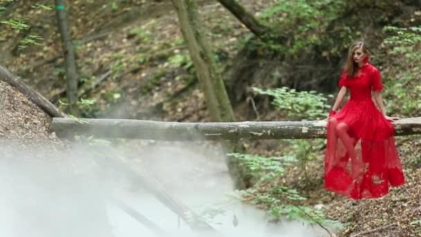 Frau im Wald in Rauchwolke