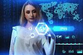 Koncept podnikání, technologií, internetu a síti