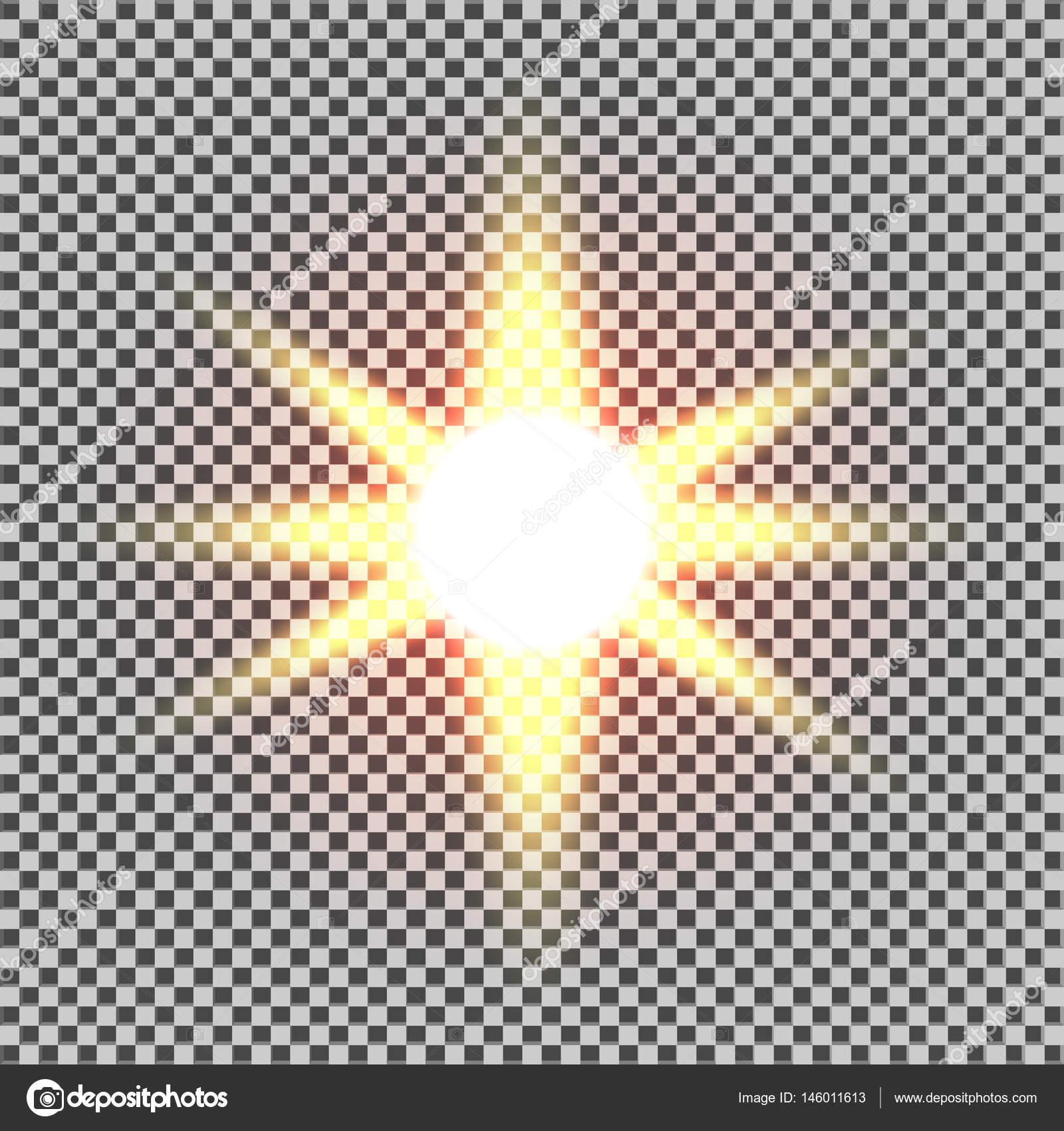 Hellen Leuchteffekt. Starburst mit funkelt auf transparenten ...