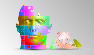 A person's face consists of a multi-colored puzzle. Vector illustration of a logical task