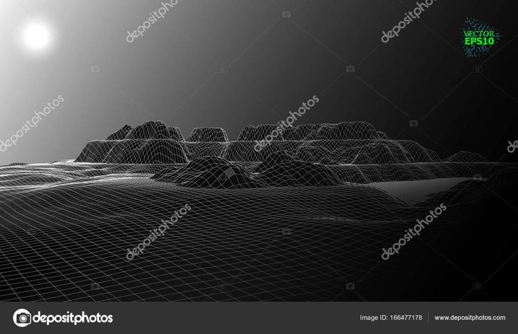 Paisaje de montaña en el estilo de marco de alambre. El paisaje ...
