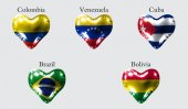 Fotografie eps10. Flags of America countries. The flags of Colombia, Venezuela, Cuba, Brazil, Bolivia on an air ball in the form of a heart made of glossy material.