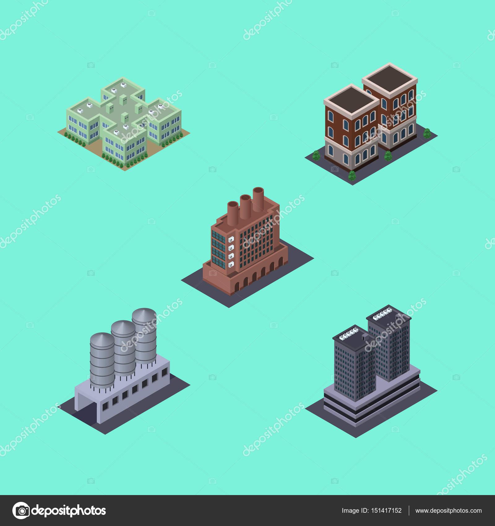 Isometrische Architektur, Haus, Industrie, Turm und andere Vektor ...