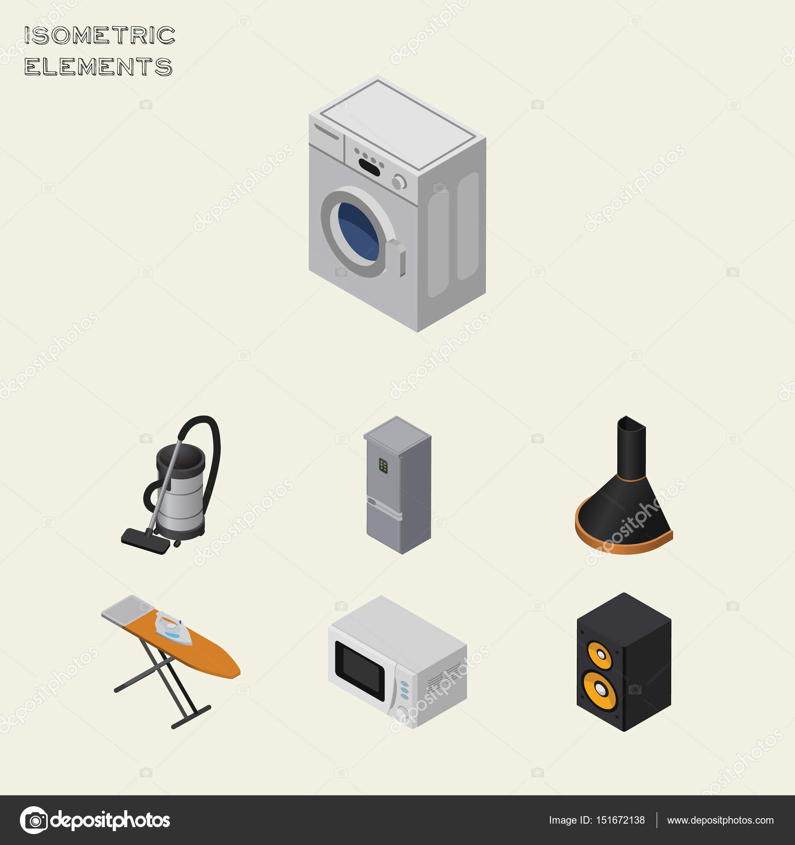 Isometric Technology Set Of Kitchen Fridge, Air Extractor, Music Box And  Other Vector Objects