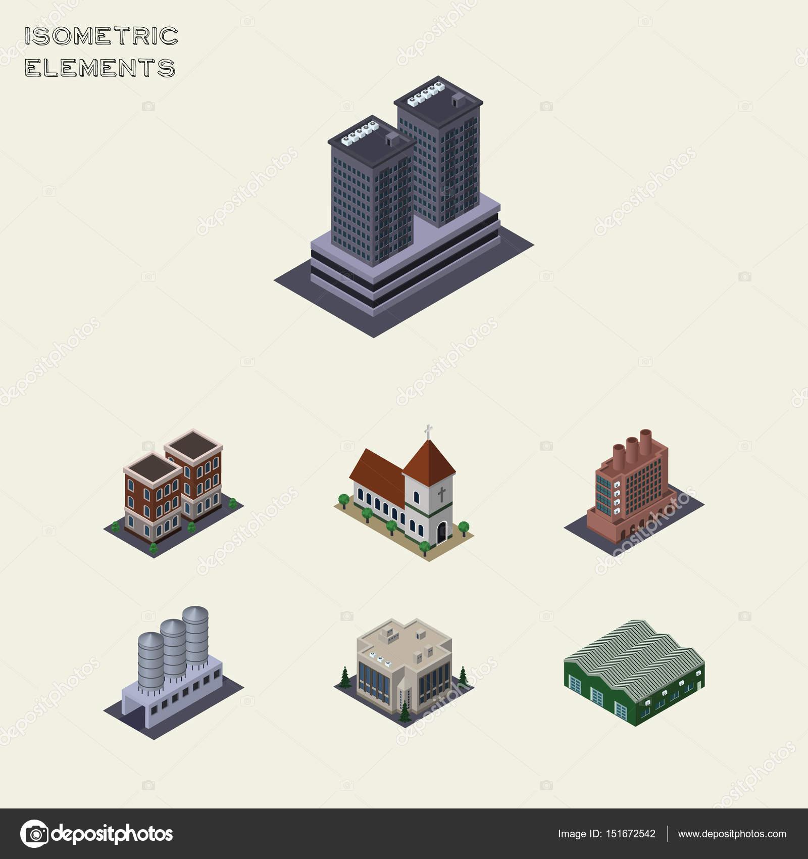 Isometrische Architektur, Haus, Industrie, Kapelle und anderen ...