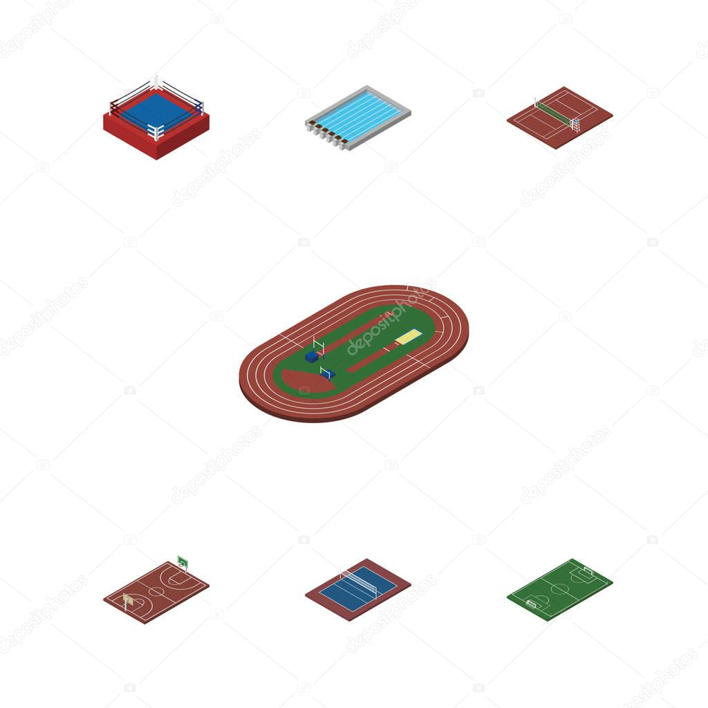 Isometric Competition Set Of Tennis, Volleyball, Soccer And Other Vector Objects. Also Includes Pool, Running, Soccer Elements.