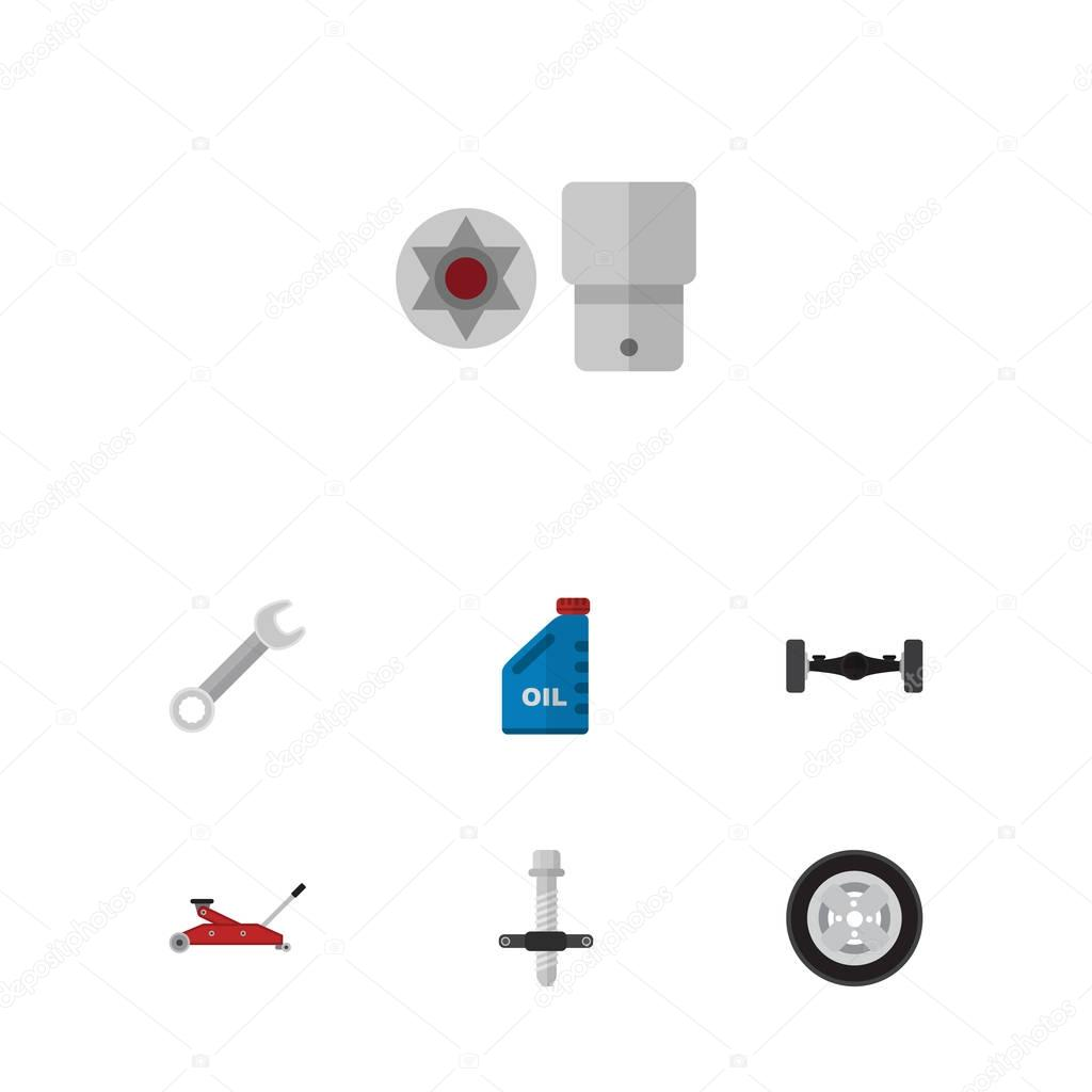 Flat Workshop Set Of Petrol, Muffler, Turnscrew And Other Vector Objects. Also Includes Silent, Puller, Tire Elements.