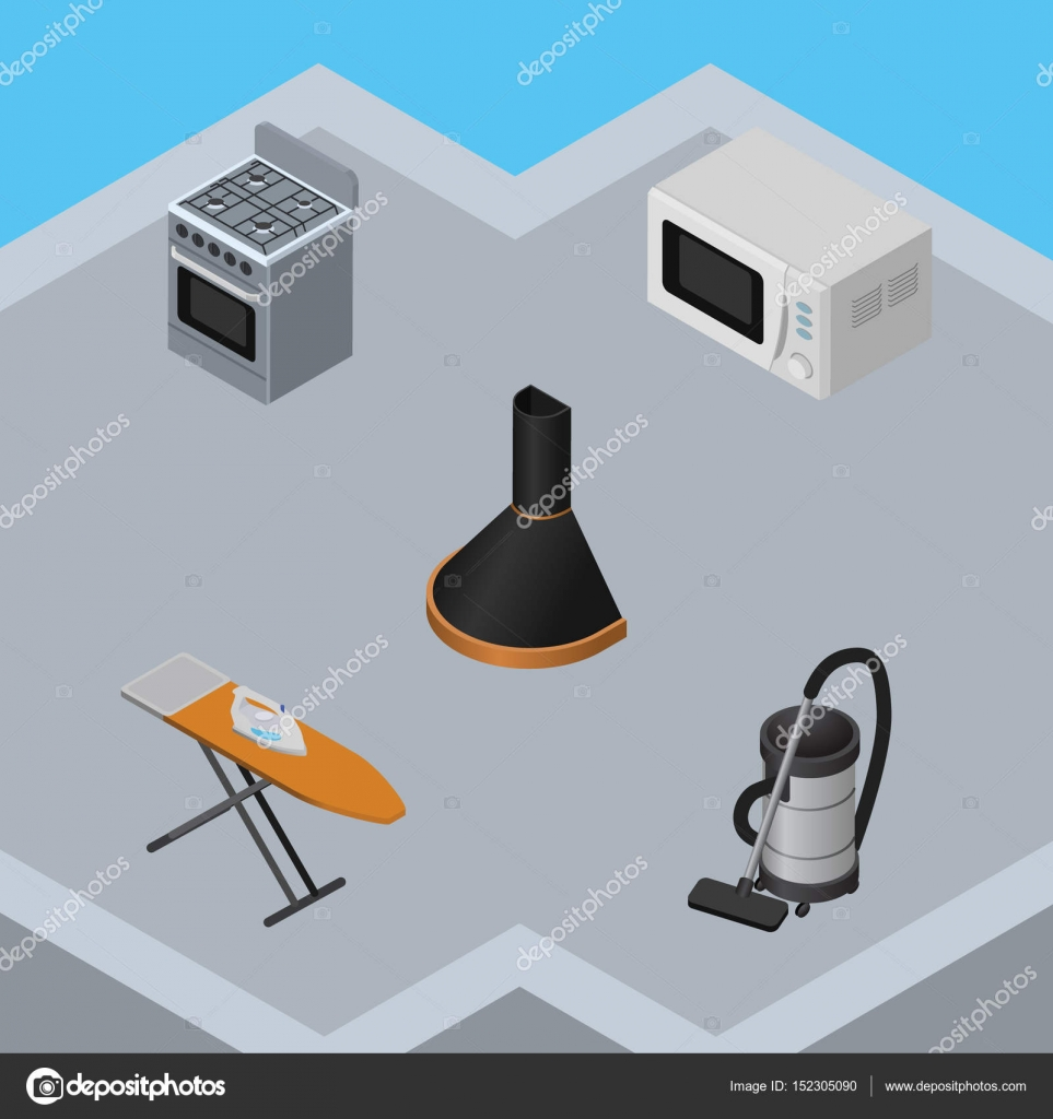 isometric technology set of vac air extractor cloth iron and other