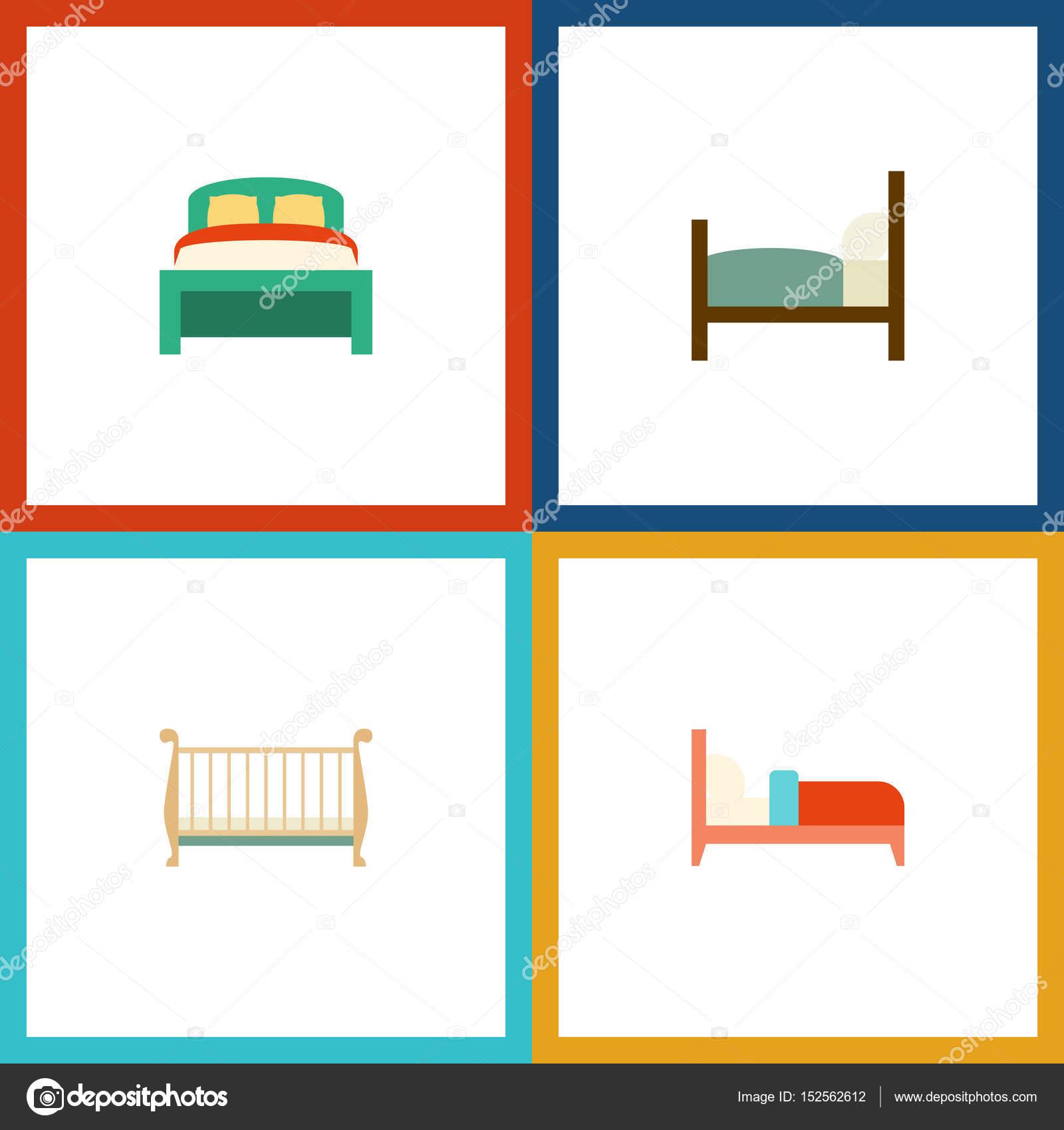Piso dormitorio juego de muebles, cuna, cama y otros objetos ...