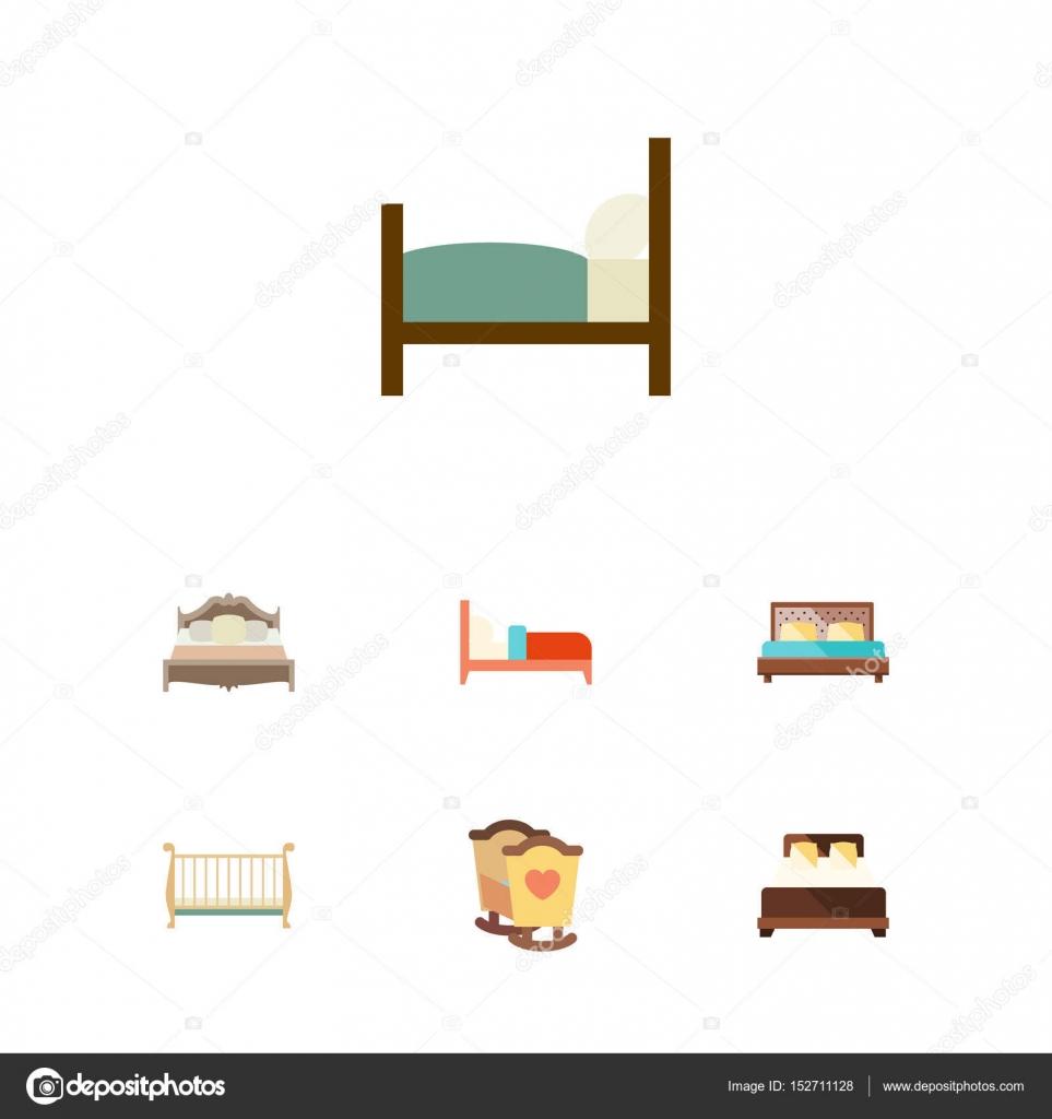 Piatto serie di camera da letto, letto, ostello e altri oggetti ...