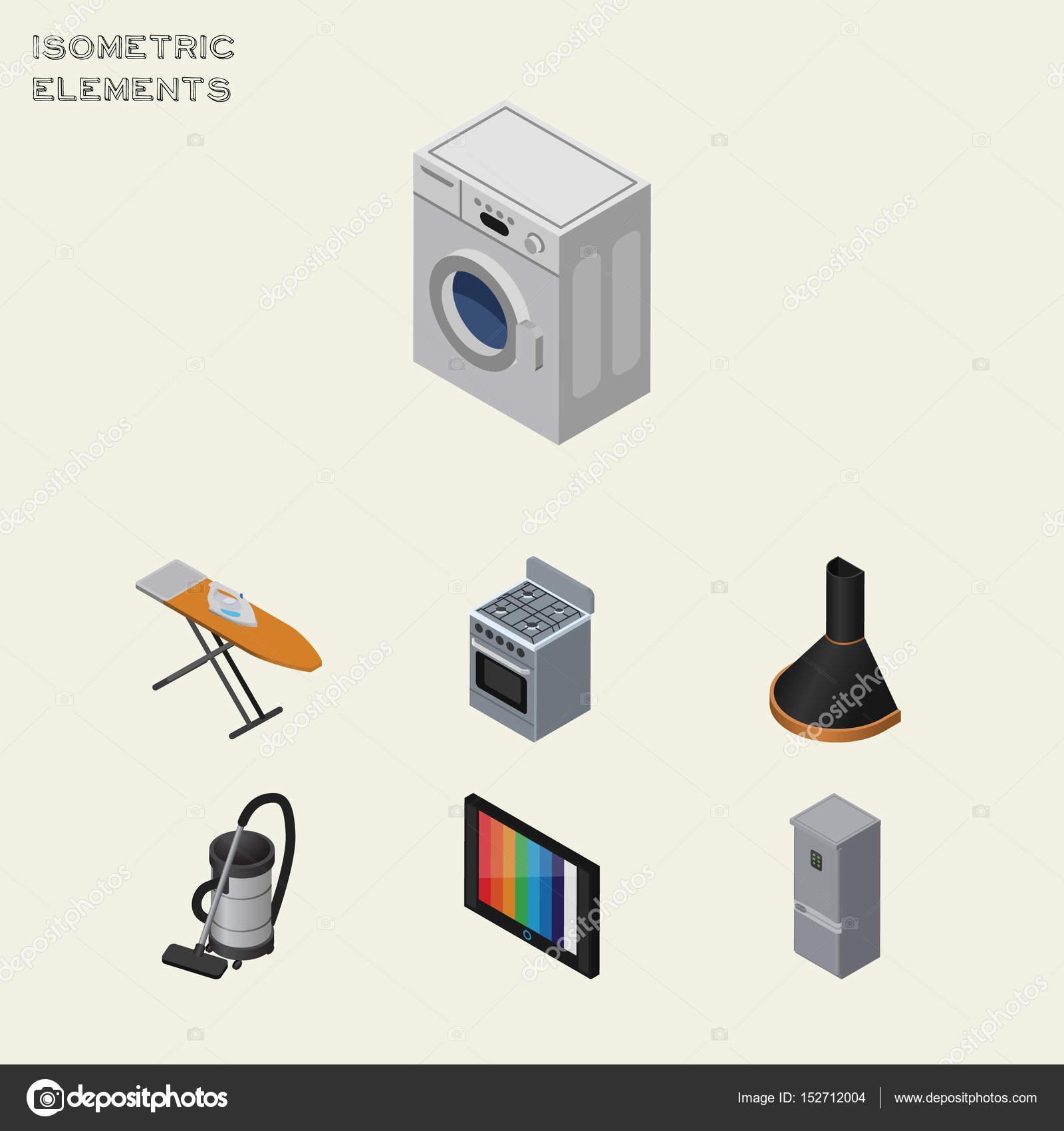 Set dispositivo isometrica della cucina frigorifero, televisione ...