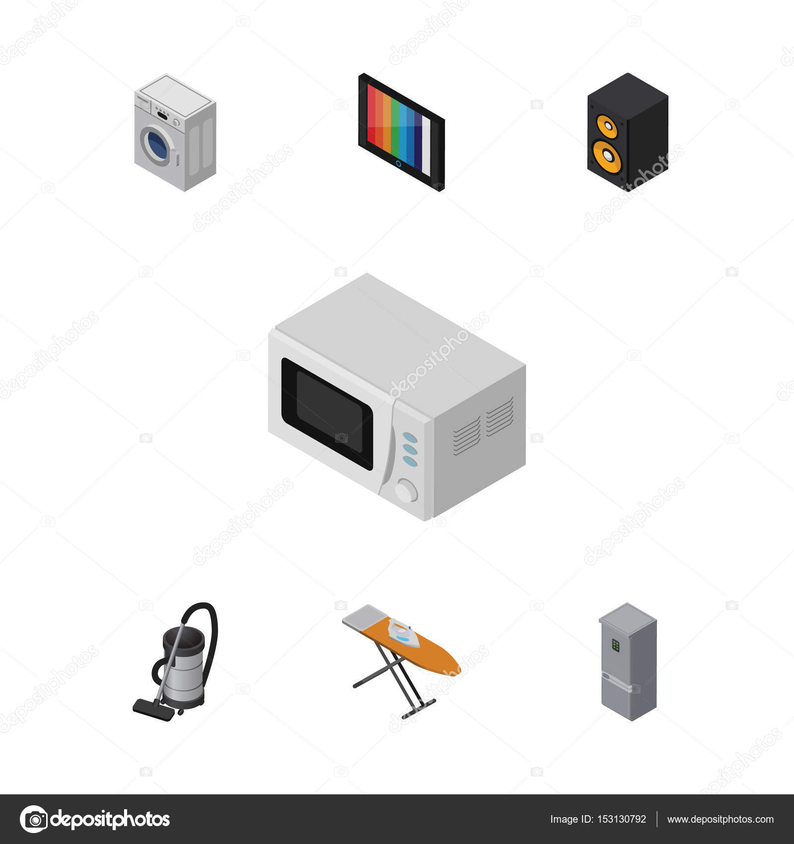 isometric device set of vac microwave laundry and other vector