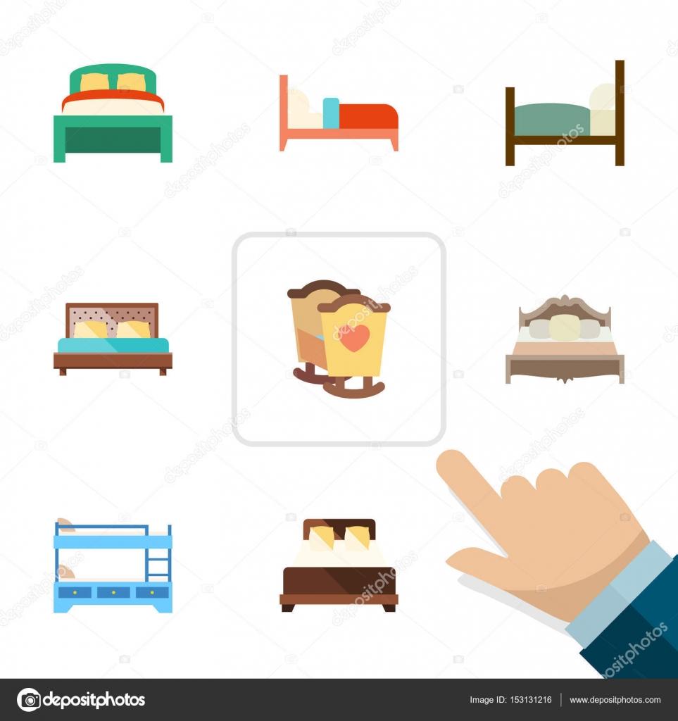Plano conjunto de cojinetes, cunas, muebles y otros objetos de ...