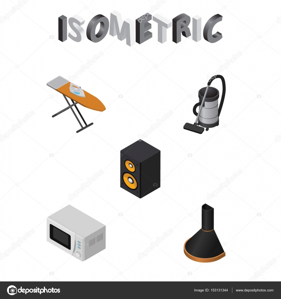 isometric appliance set of vac music box cloth iron and other