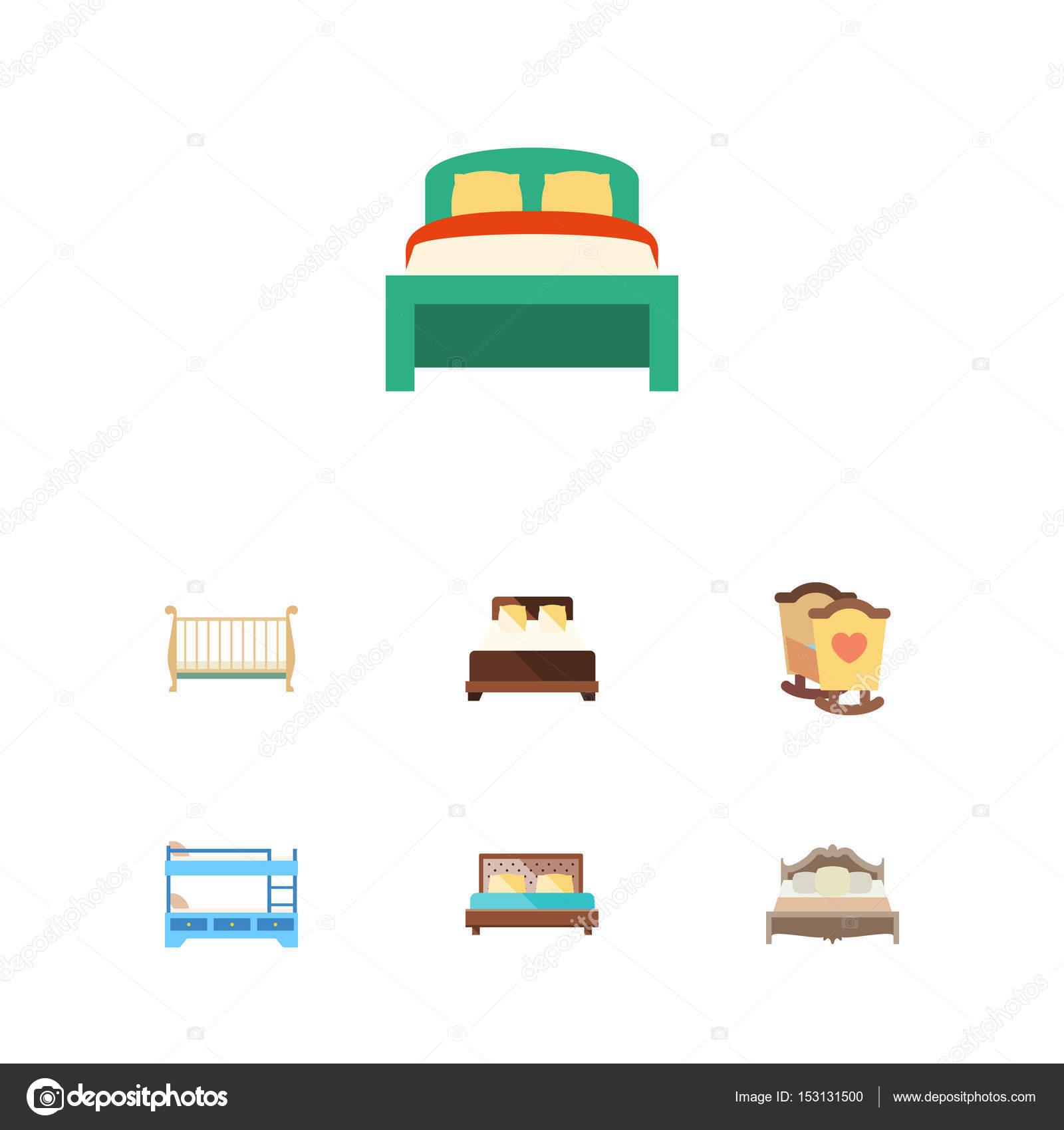 Plano conjunto de cuna, cuna, muebles y otros objetos vectoriales ...