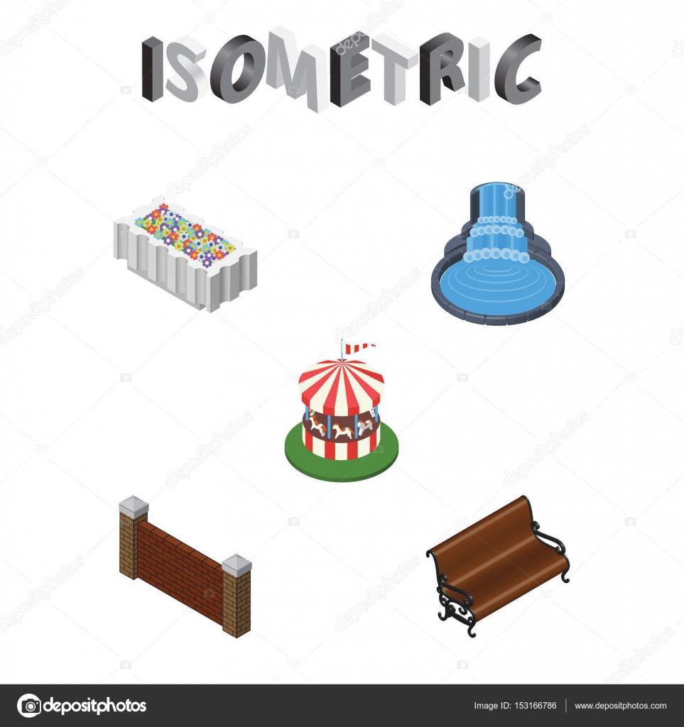 ciudad isomtrico juego de estar decoracin de jardn carrusel y otros objetos vectoriales tambin incluye elementos de asiento del parque decoracin