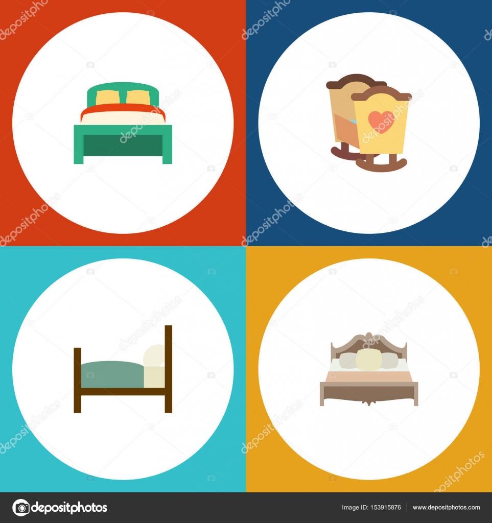 Piso dormitorio juego de muebles, cama, cuna y otros objetos ...