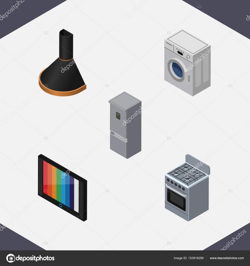 Isometrische Technologie Satz von Wäsche, Fernseher, Herd und andere ...