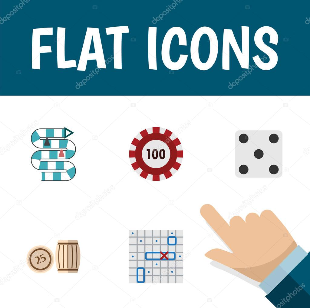 Flat Icon Play Set Of Sea Fight, Multiplayer, Poker And Other Vector Objects. Also Includes Dice, Chip, Casino Elements.