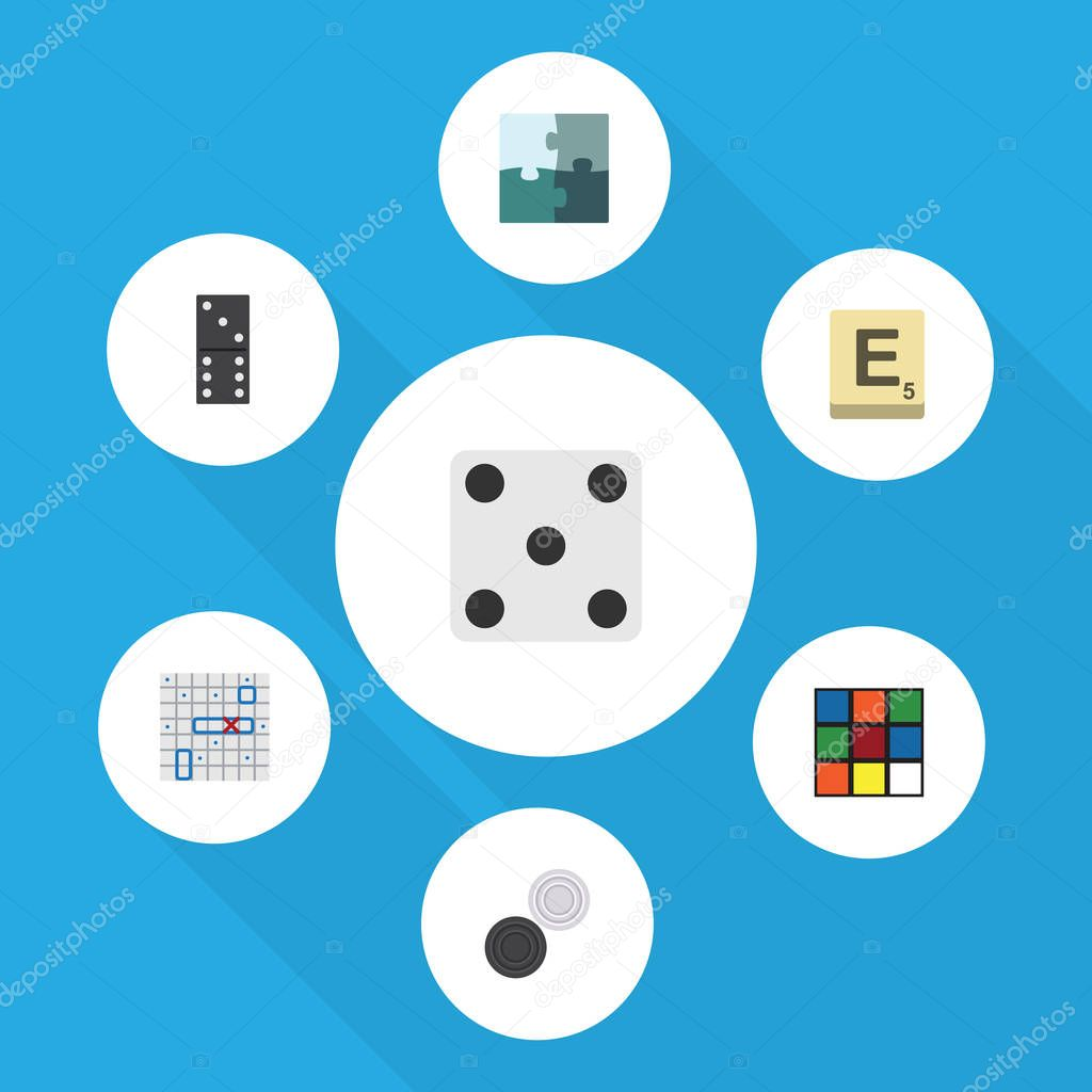 Flat Icon Games Set Of Bones Game, Backgammon, Chequer And Other Vector Objects. Also Includes Dice, Ship, Battle Elements.
