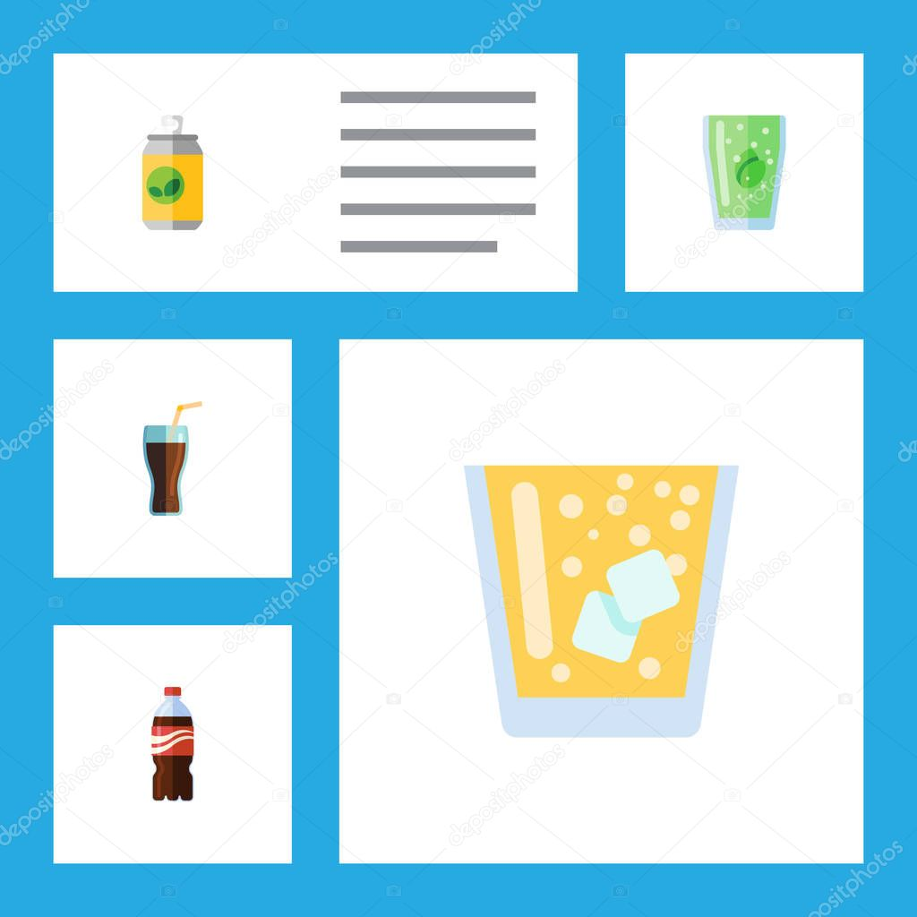 Flat Icon Beverage Set Of Lemonade, Beverage, Fizzy Drink And Other Vector Objects. Also Includes Cola, Cup, Lemonade Elements.