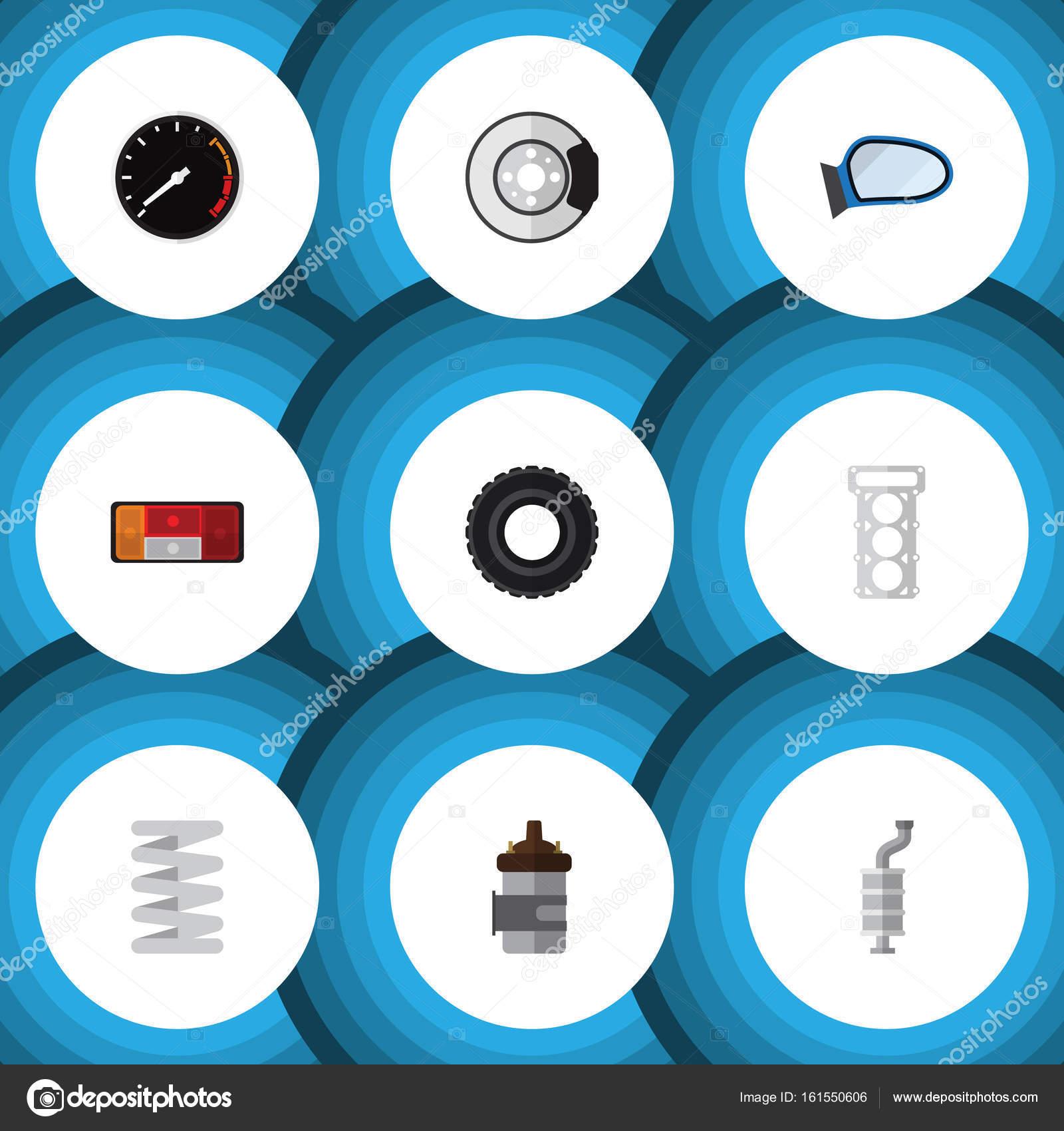 Flache Auto Symbolsatz für Scheinwerfer, Verpackung, Auto-Komponente ...