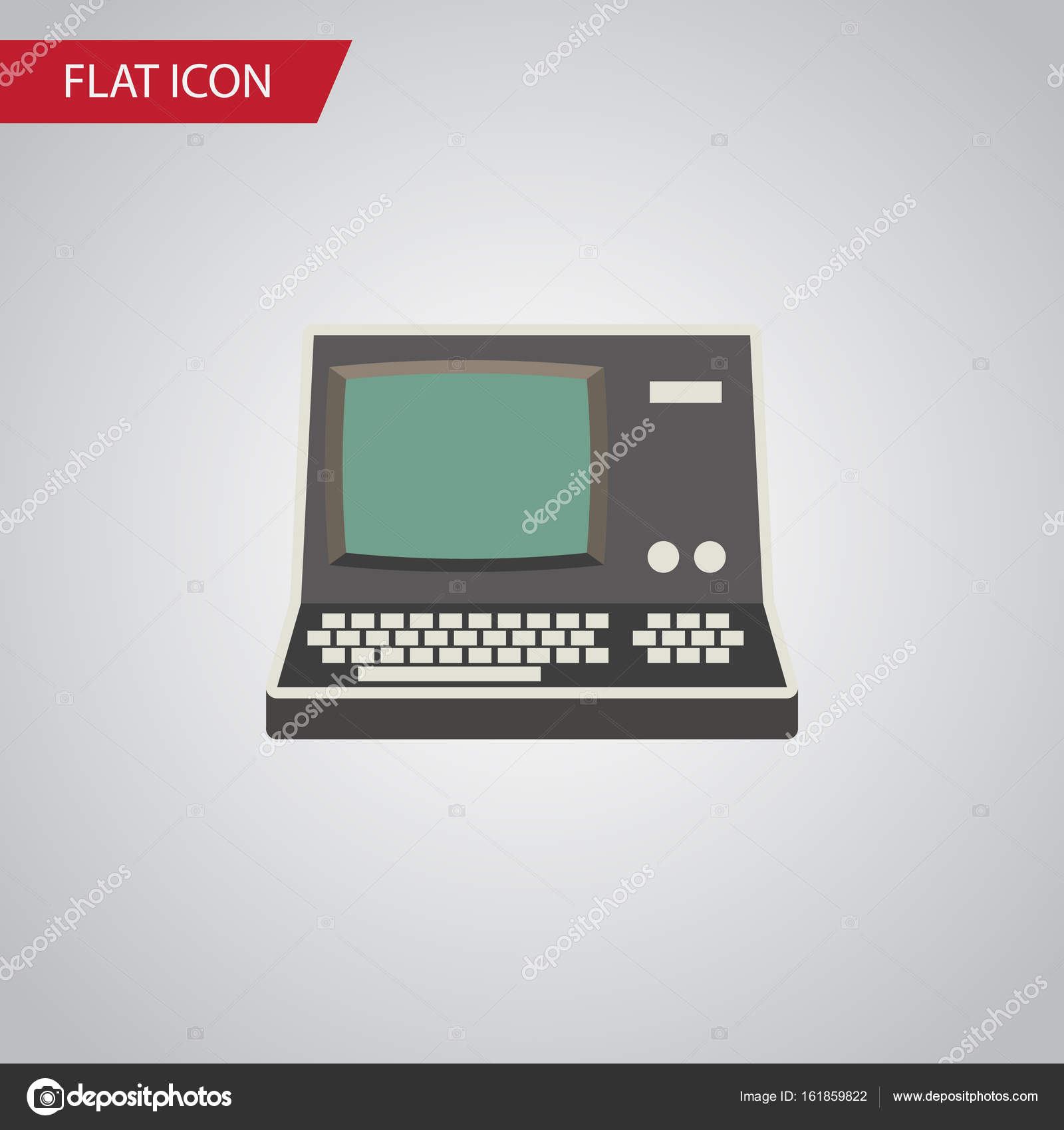 Isolated Vintage Computing Flat Icon  Technology Vector Element Can