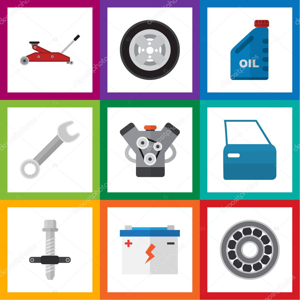 Flat Icon Workshop Set Of Petrol, Muffler, Spanner And Other Vector Objects. Also Includes Silent, Spanner, Wrench Elements.