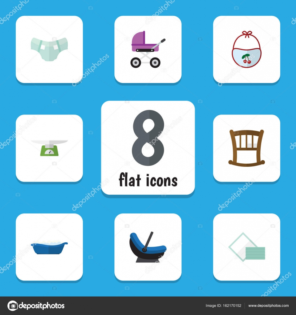 Flat Icon Infant Set Of Children Scales Bathtub Stroller And Other Overall Pinny Vector Objects