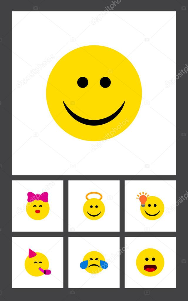 Flat Icon Face Set Of Joy, Angel, Have An Good Opinion And Other Vector Objects. Also Includes Face, Emoji, Confused Elements.