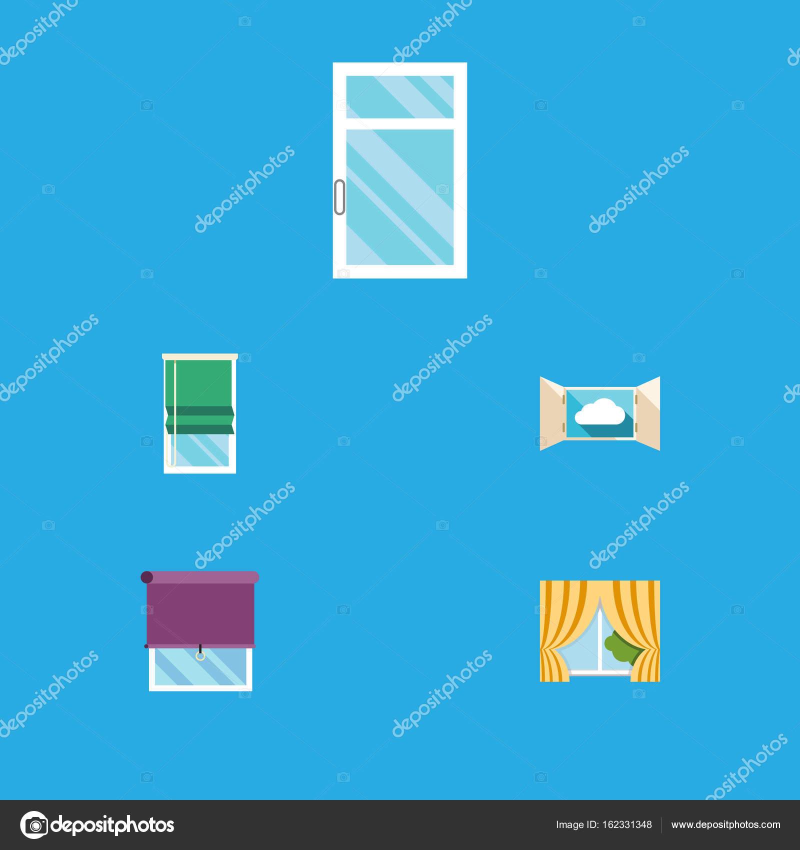 Icono plano marco conjunto de cristal, marco de vidrio, balcón y ...