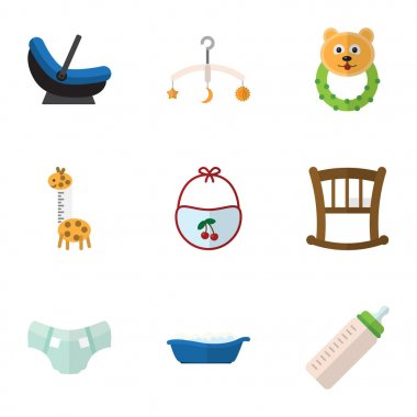 Flat Icon Child Set Of Feeder, Infant Cot, Rattle And Other Vector Objects. Also Includes Infant, Bed, Rattle Elements.
