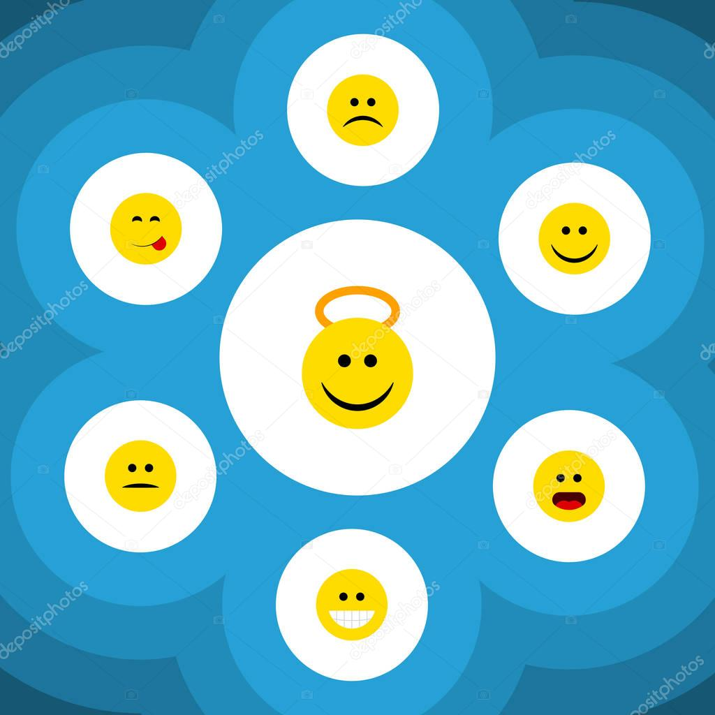 Flat Icon Expression Set Of Joy, Angel, Sad And Other Vector Objects. Also Includes Sad, Smile, Displeased Elements.
