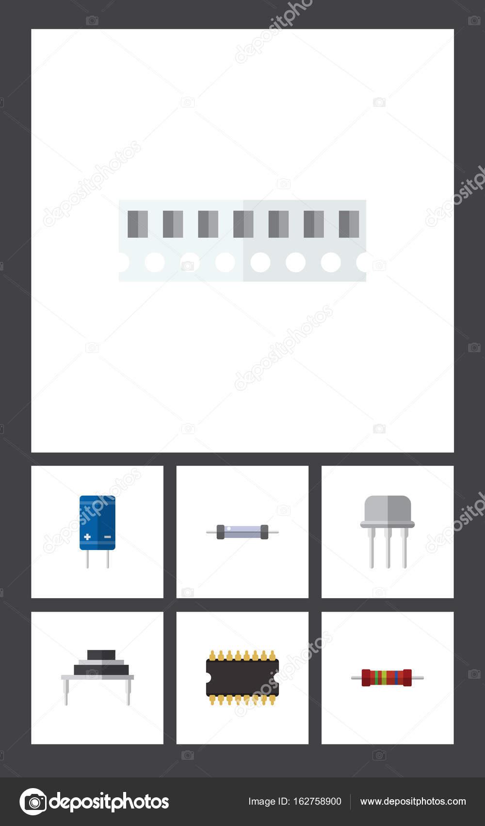 Flache Symbol Elektronik eingestellt Mikroprozessor, Speicher ...