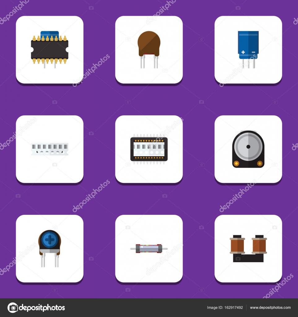 Flache Symbol Technologie eingestellt Mikroprozessor, Speicher ...