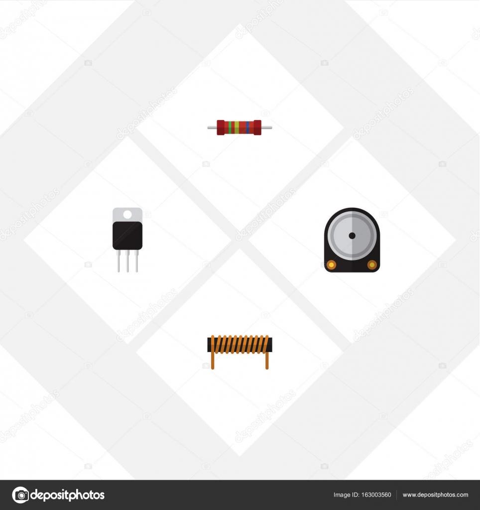 Flache Symbol des Empfängers, Spule, Widerstand und andere ...